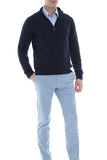 Cashmere Zip Up Sweater - Navy