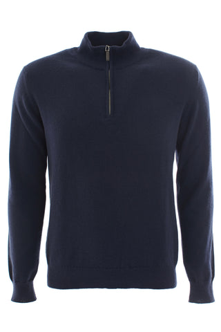Navy zipped turtle neck cashmere sweater