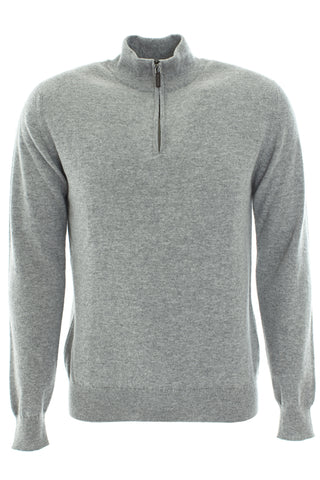 Cashmere Zip Up Sweater -Light Grey
