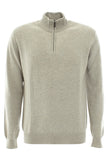 Beige zipped turtle neck cashmere sweater