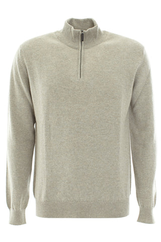 Cashmere Zip Up Sweater - Pebble