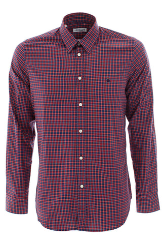 Red/navy check shirt