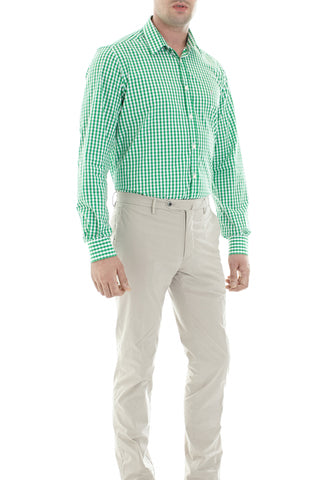 Green/White check shirt