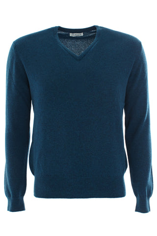 Teal cashmere vee neck sweater
