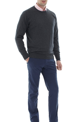 Charcocal cashmere and Silk crew neck Pullover
