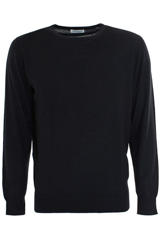 Black cashmere and Silk crew neck Pullover