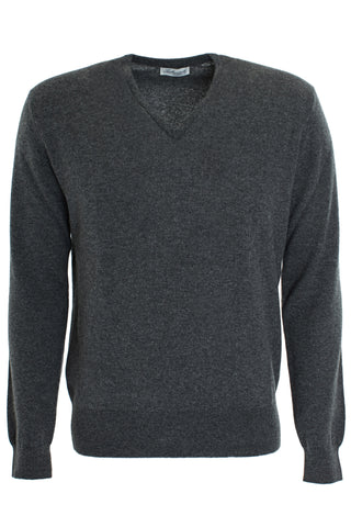 Cashmere Vee Neck Sweater - Grey