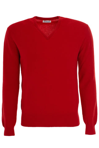Cashmere Vee Neck Sweater - Cardinal