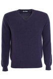 Blackberry cashmere vee neck sweater