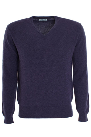 Cashmere Vee Neck Sweater - Blackberry