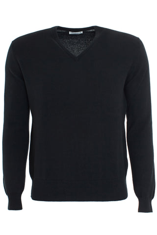 Black cashmere vee neck sweater