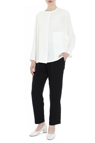 Crew Wrap Overlay Silk Top