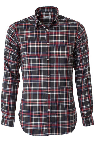 Bruched cotton check shirt