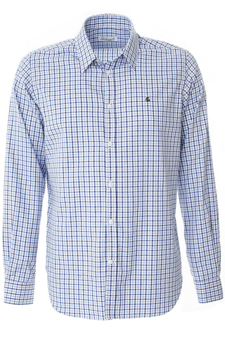 Brushed Cotton Shirt - Light Blue/White