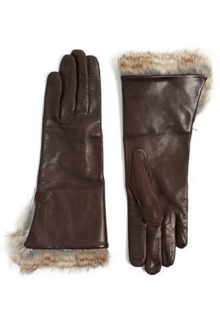 Lambskin and Rabbit Fur Gloves - Brown