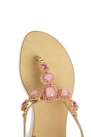 Pink Crystal Square Sandals