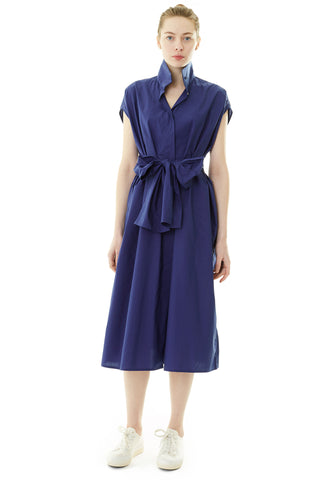 Drape Cotton Dress - Midnight
