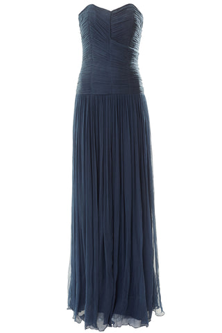Calliope Ruched Strapless Silk Gown