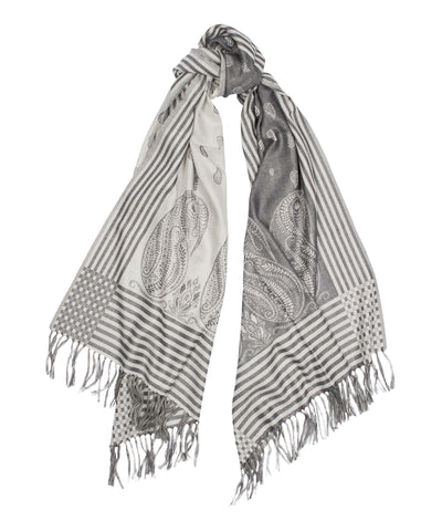 Gingham Paisley Fine Cashmere Scarf