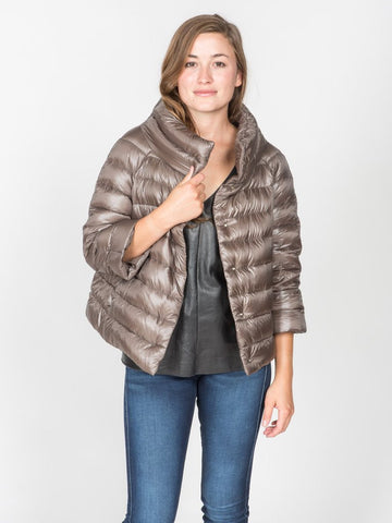 Cropped Sleeve Padded Jacket - Bronze