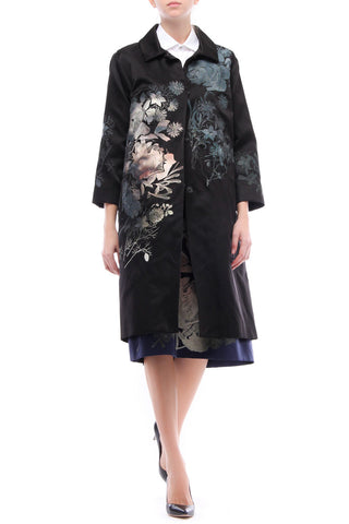 Bianca Silk Satin Embroidered Coat