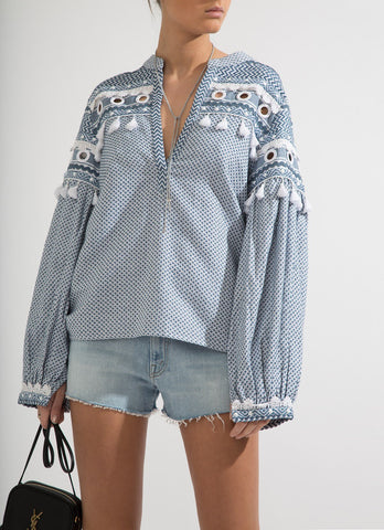 Nathaniel Tassel Embroidered Shirt - Blue