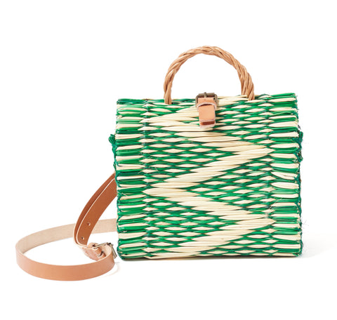 Traditional Straw Bag - Green Pasta Small