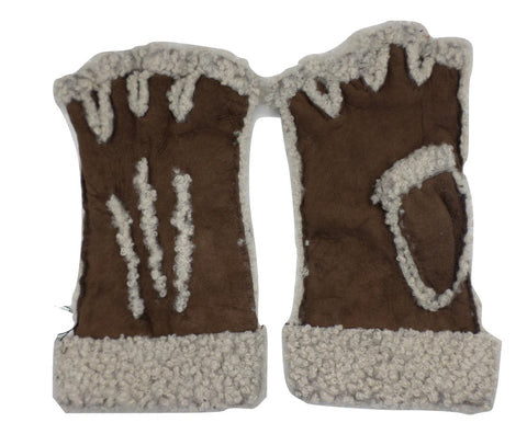 Larzac Sheepskin Leather Mittens Gloves - Brown