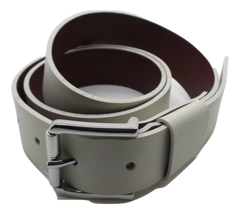 Verdict Leather Belt - Ivory/Burgundy