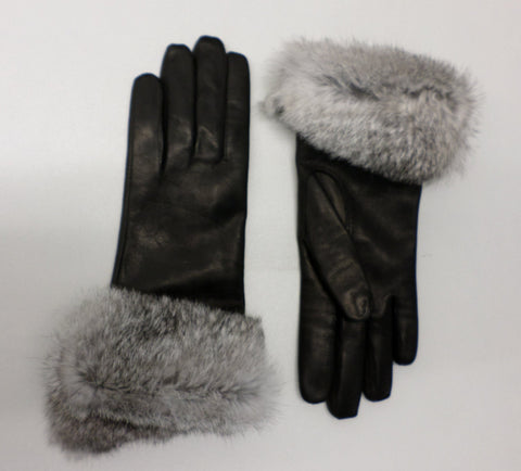 Lambskin and Rabbit Fur Gloves - Black