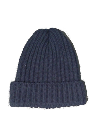 Wool Ribbed Bob Beanie Hat - Navy