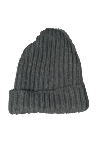 Wool Ribbed Bob Beanie Hat - Grey