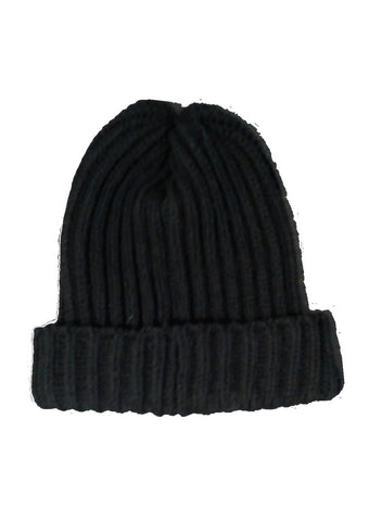 Wool Ribbed Bob Beanie Hat - Black