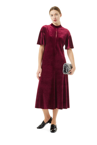 Burgundy Velvet Flared Dress