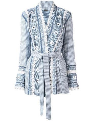 Zur Embellished Cotton Kimono Jacket - Blue