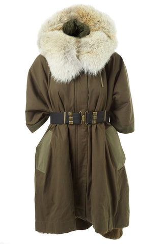 Fur Lined Parka Cape Coat - Army by Yves Salomon