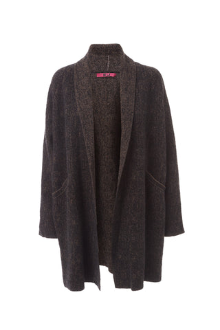 Merino Wool Cardigan Jacket - Brown