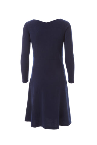 Cashmere Flared Dress - Navy