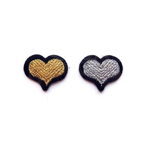 "DUO OF ""HEARTS"" PATCHES - Silver & Gold"