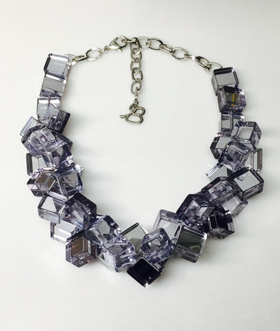 Looking Glass Mirror Cube Necklace