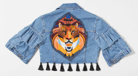Lion Sequins Cropped Denim Jacket