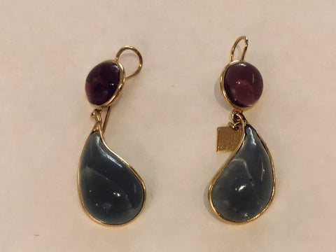 Bicolor Double Teardrop Hook Earrings -Amethyst Topaz