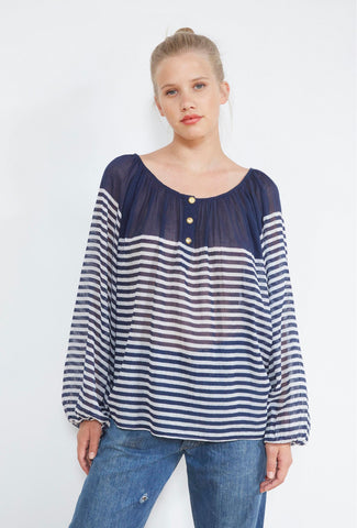 Forward Striped Cotton Blouse