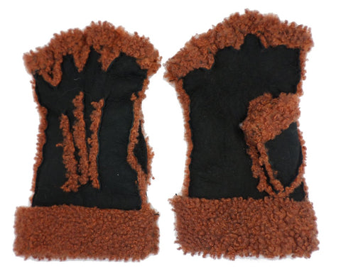 Larzac Sheepskin Leather Mittens Gloves - Black