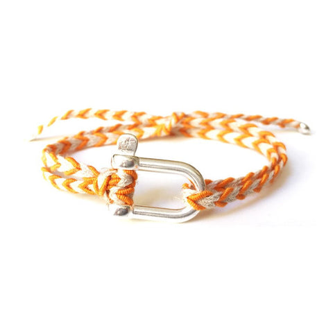 Braided Bracelet Large Manille Silver 925 - Orange