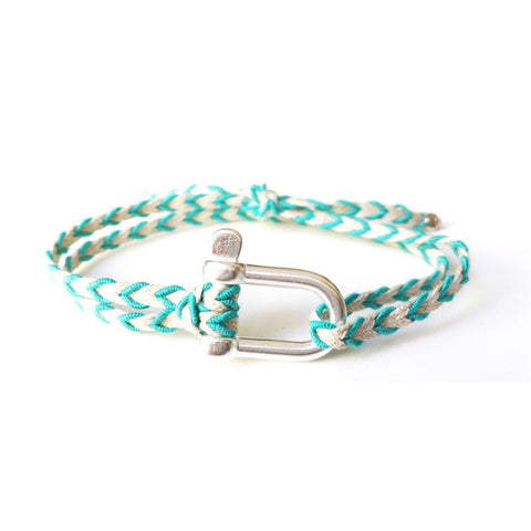 Braided Bracelet Large Manille Silver 925 - Blue