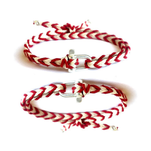 Braided Bracelet Small Manille Silver 925 - Red