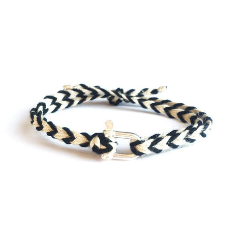 Braided Bracelet Small Manille Silver 925 - Black