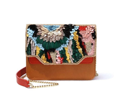 Dragonfly Sequin Satchel Bag