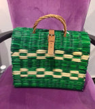 Traditional Straw Bag - Green Large